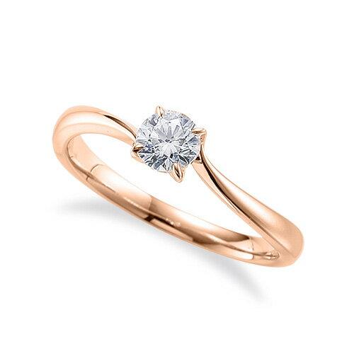指輪 18金 ピンクゴールド 天然石 一粒リング 主石の直径約4.4mm ソリティア ウェーブ 四本爪留め|K18PG 18k 貴金属 ジュエリー レディース メンズ