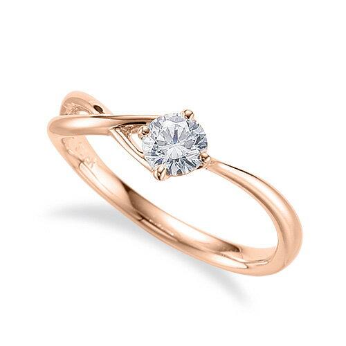 指輪 18金 ピンクゴールド 天然石 一粒リング 主石の直径約4.4mm ソリティア ウェーブ 割り腕 四本爪留め|K18PG 18k 貴金属 ジュエリー レディース メンズ
