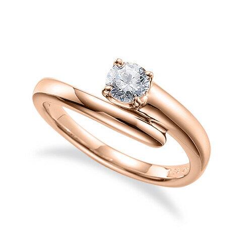 指輪 18金 ピンクゴールド 天然石 一粒リング 主石の直径約5.2mm ソリティア ウェーブ 四本爪留め|K18PG 18k 貴金属 ジュエリー レディース メンズ