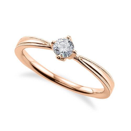 指輪 18金 ピンクゴールド 天然石 両端ミル打ちの一粒リング 主石の直径約3.8mm ソリティア しぼり腕 四本爪留め|K18PG 18k 貴金属 ジュエリー レディース メンズ