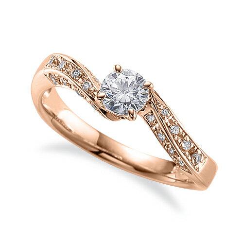 指輪 18金 ピンクゴールド 天然石 サイド三文字リング 主石の直径約3.0mm ウェーブ 四本爪留め|K18PG 18k 貴金属 ジュエリー レディース メンズ