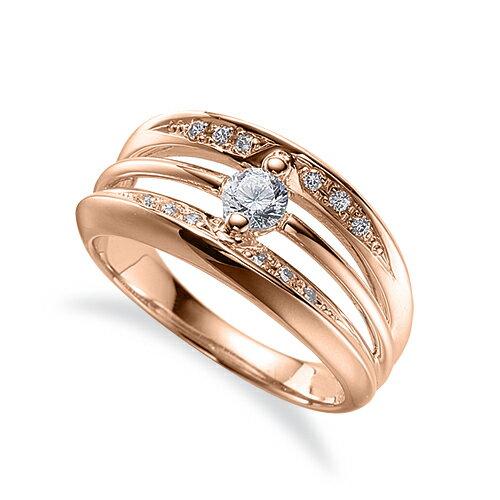 指輪 18金 ピンクゴールド 天然石 サイド二文字リング 主石の直径約3.8mm 割り腕|K18PG 18k 貴金属 ジュエリー レディース メンズ
