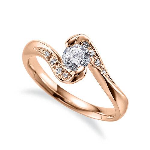 指輪 18金 ピンクゴールド 天然石 サイドストーンリング 主石の直径約3.8mm 抱き合わせ腕|K18PG 18k 貴金属 ジュエリー レディース メンズ
