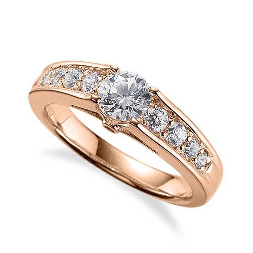 指輪 18金 ピンクゴールド 天然石 側面に一粒メレ付きサイド一文字リング 主石の直径約5.2mm 四本爪留め K18PG 18k 貴金属 ジュエリー レディース メンズ