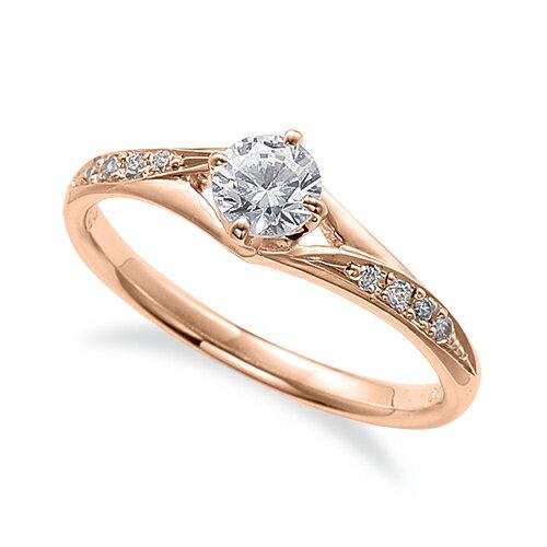 指輪 18金 ピンクゴールド 天然石 サイドストーンリング 主石の直径約4.4mm 割り腕 四本爪留め K18PG 18k 貴金属 ジュエリー レディース メンズ