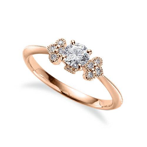 指輪 18金 ピンクゴールド 天然石 側面に一粒メレ付きサイドストーンリング 主石の直径約4.4mm 四本爪留め|K18PG 18k 貴金属 ジュエリー レディース メンズ