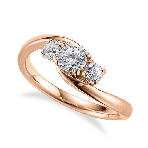 指輪 18金 ピンクゴールド 天然石 サイドストーンリング 主石の直径約4.4mm 抱き合わせ腕 四本爪留め K18PG 18k 貴金属 ジュエリー レディース メンズ