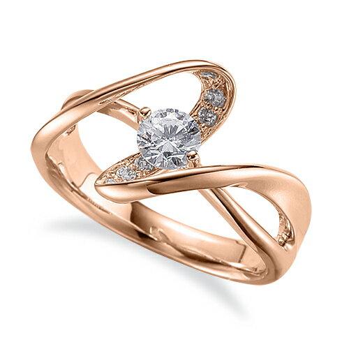 指輪 18金 ピンクゴールド 天然石 腕のラインがスタイリッシュなサイドストーンリング 主石の直径約4.4mm ウェーブ 割り腕 二本爪留め|K18PG 18k 貴金属 ジュエリー レディース メンズ