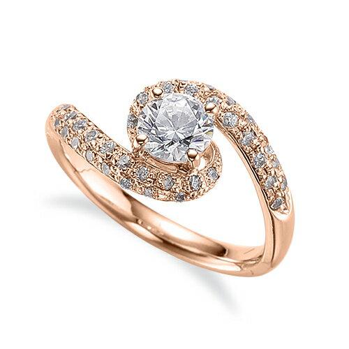 指輪 18金 ピンクゴールド 天然石 メレがラインになったサイドストーンリング 主石の直径約5.2mm 抱き合わせ腕 四本爪留め|K18PG 18k 貴金属 ジュエリー レディース メンズ