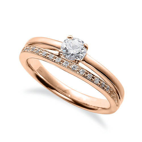 指輪 18金 ピンクゴールド 天然石 サイド一文字リング 主石の直径約3.8mm 割り腕 四本爪留め|K18PG 18k 貴金属 ジュエリー レディース メンズ