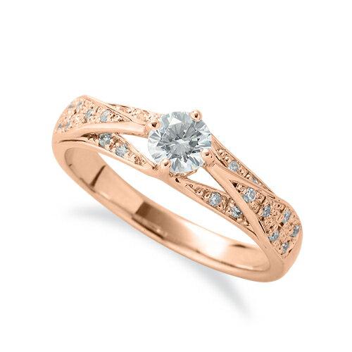 指輪 18金 ピンクゴールド 天然石 サイドパヴェリング 主石の直径約4.4mm 割り腕 四本爪留め|K18PG 18k 貴金属 ジュエリー レディース メンズ