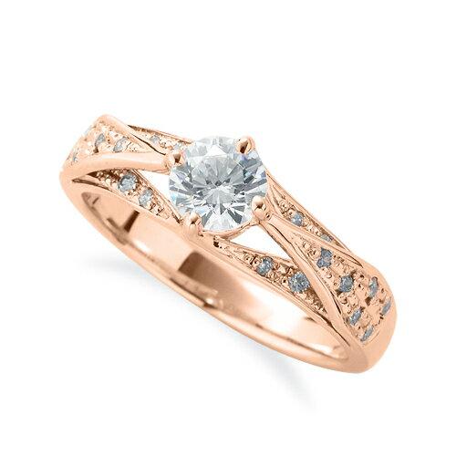 指輪 18金 ピンクゴールド 天然石 サイドパヴェリング 主石の直径約5.2mm 割り腕 四本爪留め|K18PG 18k 貴金属 ジュエリー レディース メンズ