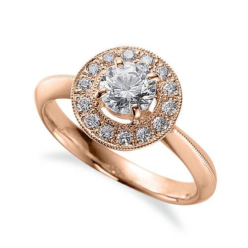 指輪 18金 ピンクゴールド 天然石 ミル打ちラインの取り巻きリング 主石の直径約5.2mm 四本爪留め|K18PG 18k 貴金属 ジュエリー レディース メンズ