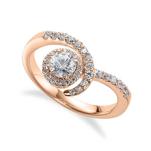 指輪 18金 ピンクゴールド 天然石 メレがラインになった取り巻きリング 主石の直径約4.4mm V字 四本爪留め K18PG 18k 貴金属 ジュエリー レディース メンズ