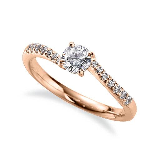指輪 18金 ピンクゴールド 天然石 サイド一文字 主石の直径約4.4mm ウェーブ 四本爪留め K18PG 18k 貴金属 ジュエリー レディース メンズ
