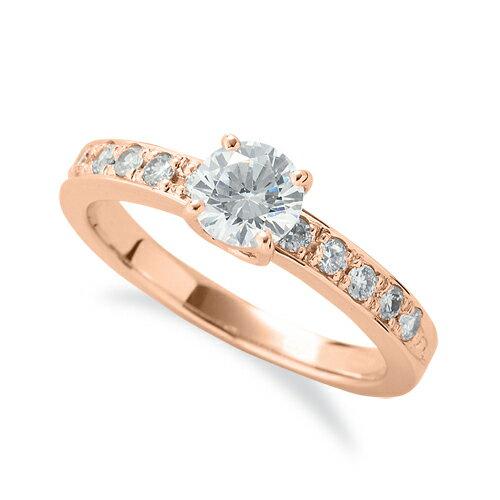 指輪 18金 ピンクゴールド 天然石 サイド一文字リング 主石の直径約5.2mm 四本爪留め|K18PG 18k 貴金属 ジュエリー レディース メンズ