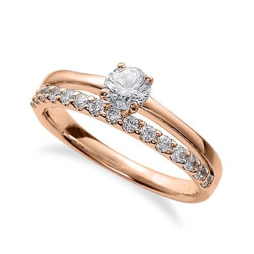 指輪 18金 ピンクゴールド 天然石 サイド一文字リング 主石の直径約5.2mm 割り腕 四本爪留め|K18PG 18k 貴金属 ジュエリー レディース メンズ