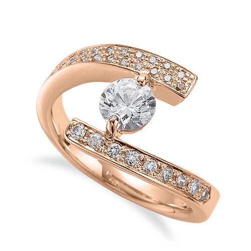 指輪 18金 ピンクゴールド 天然石 サイドパヴェリング 主石の直径約5.2mm 二本爪留め|K18PG 18k 貴金属 ジュエリー レディース メンズ