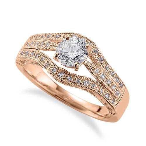 指輪 18金 ピンクゴールド 天然石 メレ周りミル打ちのサイド三文字リング 主石の直径約5.2mm 割り腕 しぼり腕 四本爪留め|K18PG 18k 貴金属 ジュエリー レディース メンズ