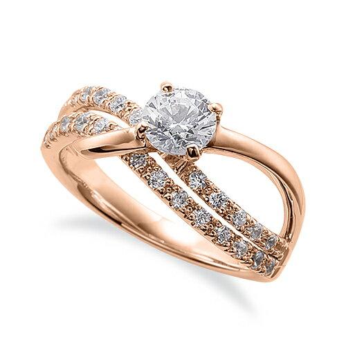 指輪 18金 ピンクゴールド 天然石 サイド二文字リング 主石の直径約5.2mm ウェーブ 割り腕 四本爪留め|K18PG 18k 貴金属 ジュエリー レディース メンズ