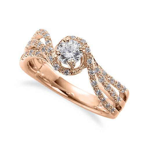 指輪 18金 ピンクゴールド 天然石 メレがスリーラインになった取り巻きリング 主石の直径約4.4mm ウェーブ 割り腕 四本爪留め K18PG 18k 貴金属 ジュエリー レディース メンズ