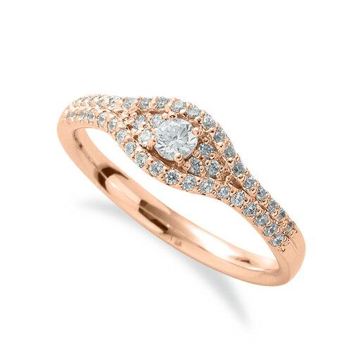 指輪 18金 ピンクゴールド 天然石 メレがラインになった取り巻きリング 主石の直径約3.0mm 四本爪留め|K18PG 18k 貴金属 ジュエリー レディース メンズ