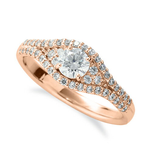 指輪 18金 ピンクゴールド 天然石 メレがラインになった取り巻きリング 主石の直径約4.4mm 四本爪留め|K18PG 18k 貴金属 ジュエリー レディース メンズ