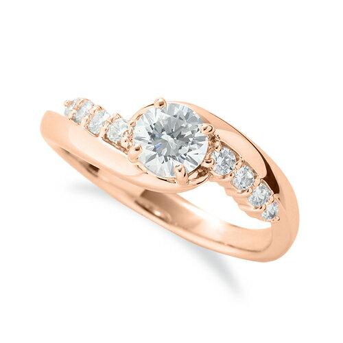 指輪 18金 ピンクゴールド 天然石 サイドストーンリング 主石の直径約5.2mm 抱き合わせ腕 四本爪留め|K18PG 18k 貴金属 ジュエリー レディース メンズ