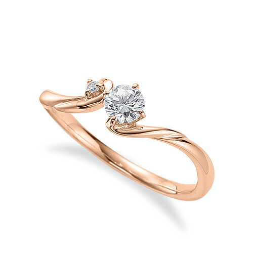 指輪 18金 ピンクゴールド 天然石 サイドストーンリング 主石の直径約3.8mm ウェーブ 四本爪留め|K18PG 18k 貴金属 ジュエリー レディース メンズ