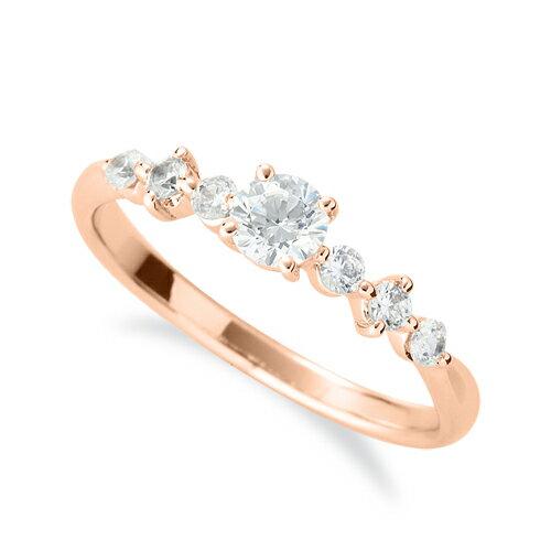 指輪 18金 ピンクゴールド 天然石 サイドストーンリング 主石の直径約3.8mm 四本爪留め|K18PG 18k 貴金属 ジュエリー レディース メンズ