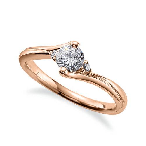 指輪 18金 ピンクゴールド 天然石 サイドストーンリング 主石の直径約4.4mm ウェーブ|K18PG 18k 貴金属 ジュエリー レディース メンズ