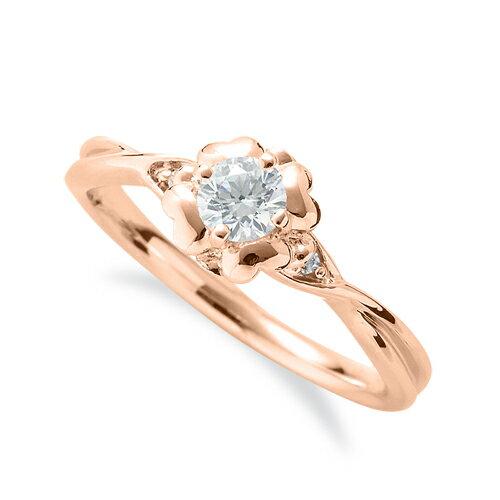 指輪 18金 ピンクゴールド 天然石 花モチーフのサイドストーンリング 主石の直径約3.8mm 四本爪留め|K18PG 18k 貴金属 ジュエリー レディース メンズ