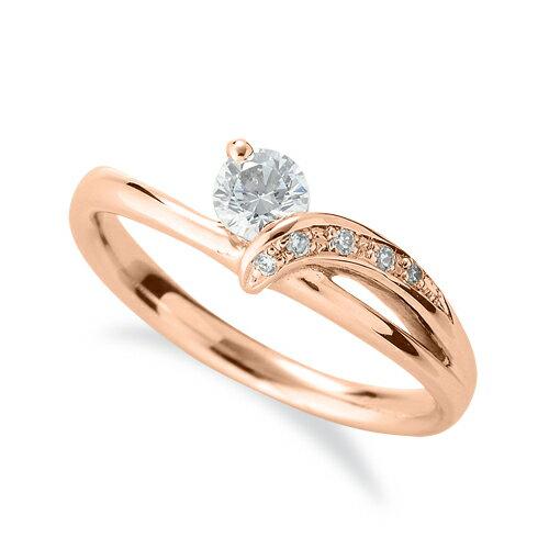 指輪 18金 ピンクゴールド 天然石 サイドストーンリング 主石の直径約3.8mm ウェーブ 割り腕|K18PG 18k 貴金属 ジュエリー レディース メンズ
