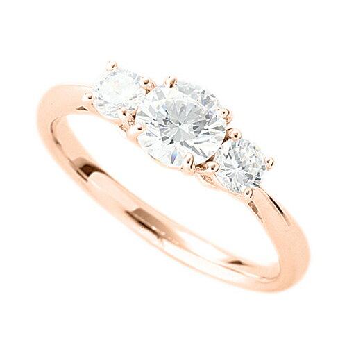指輪 18金 ピンクゴールド 天然石 サイドストーンリング 主石の直径約5.2mm 四本爪留め|K18PG 18k 貴金属 ジュエリー レディース メンズ