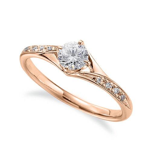 指輪 18金 ピンクゴールド 天然石 サイドストーンリング 主石の直径約4.4mm 割り腕 四本爪留め|K18PG 18k 貴金属 ジュエリー レディース メンズ