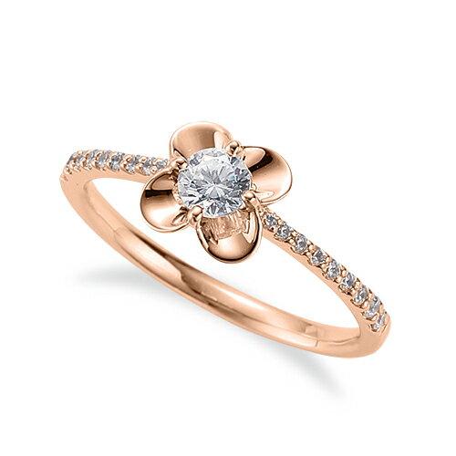 指輪 18金 ピンクゴールド 天然石 花モチーフのサイド一文字リング 主石の直径約3.8mm 四本爪留め K18PG 18k 貴金属 ジュエリー レディース メンズ