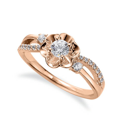 指輪 18金 ピンクゴールド 天然石 花モチーフのサイドストーンリング 主石の直径約3.8mm ウェーブ 割り腕 四本爪留め|K18PG 18k 貴金属 ジュエリー レディース メンズ