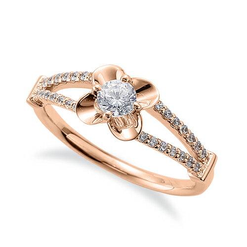 指輪 18金 ピンクゴールド 天然石 花モチーフのサイドストーンリング 主石の直径約3.8mm 割り腕 四本爪留め K18PG 18k 貴金属 ジュエリー レディース メンズ