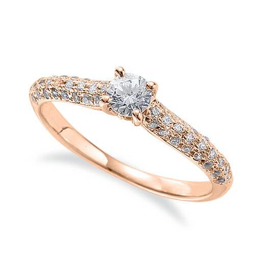 指輪 18金 ピンクゴールド 天然石 サイドパヴェリング 主石の直径約3.8mm 四本爪留め|K18PG 18k 貴金属 ジュエリー レディース メンズ