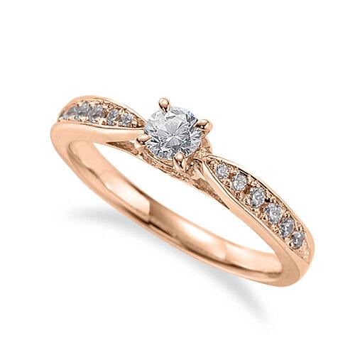 指輪 18金 ピンクゴールド 天然石 側面にメレ付きのサイド一文字リング 主石の直径約3.8mm しぼり腕 四本爪留め|K18PG 18k 貴金属 ジュエリー レディース メンズ