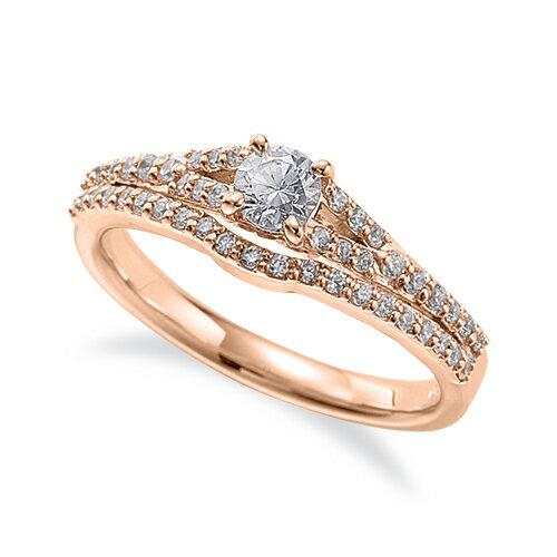 指輪 18金 ピンクゴールド 天然石 メレがラインになったサイドストーンリング 主石の直径約3.8mm 割り腕 四本爪留め|K18PG 18k 貴金属 ジュエリー レディース メンズ