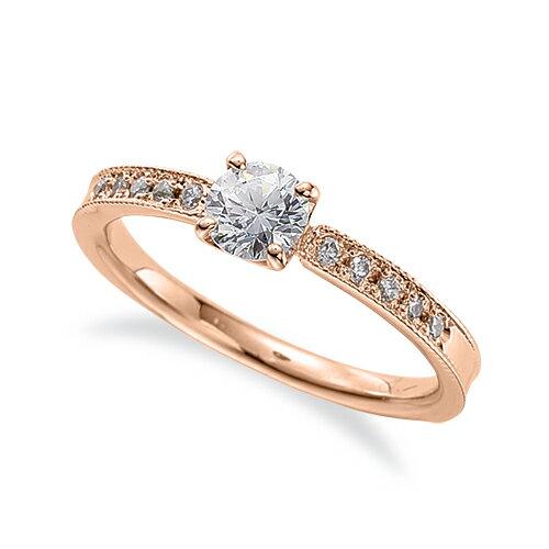 指輪 18金 ピンクゴールド 天然石 両端ミル打ちのサイド一文字リング 主石の直径約4.4mm 四本爪留め|K18PG 18k 貴金属 ジュエリー レディース メンズ