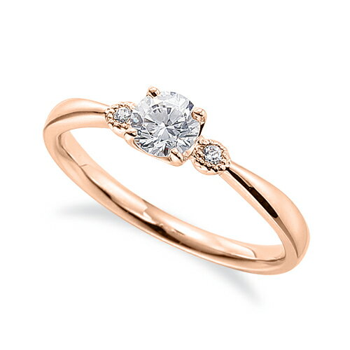 指輪 18金 ピンクゴールド 天然石 メレ周りミル打ちのサイドストーンリング 主石の直径約4.4mm 四本爪留め|K18PG 18k 貴金属 ジュエリー レディース メンズ