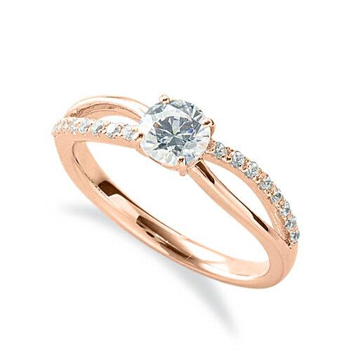 指輪 18金 ピンクゴールド 天然石 メレがラインになったサイドストーンリング 主石の直径約5.2mm ウェーブ 割り腕 四本爪留め|K18PG 18k 貴金属 ジュエリー レディース メンズ