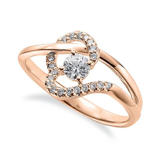 指輪 18金 ピンクゴールド 天然石 メレがラインになったサイドストーンリング 主石の直径約3.8mm ウェーブ 割り腕 四本爪留め|K18PG 18k 貴金属 ジュエリー レディース メンズ