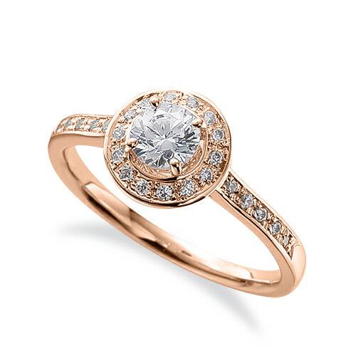 指輪 18金 ピンクゴールド 天然石 サイド一文字の取り巻きリング 主石の直径約4.4mm 四本爪留め|K18PG 18k 貴金属 ジュエリー レディース メンズ