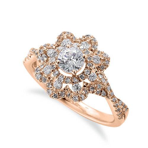指輪 18金 ピンクゴールド 天然石 花モチーフの取り巻きリング 主石の直径約3.8mm 割り腕 四本爪留め|K18PG 18k 貴金属 ジュエリー レディース メンズ