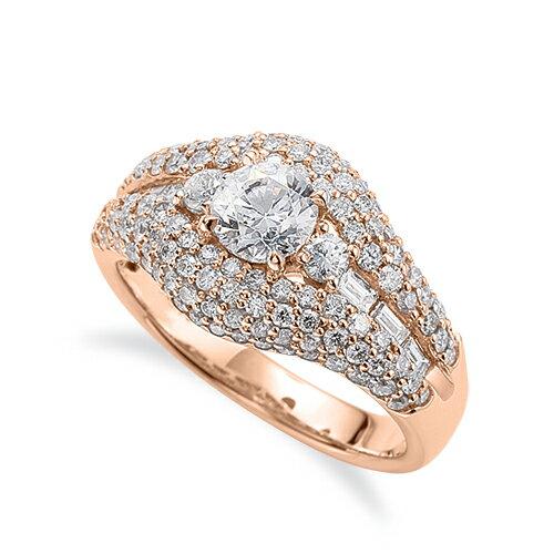 指輪 18金 ピンクゴールド 天然石 バゲットメレがサイド一文字の取り巻きリング 主石の直径約5.2mm 四本爪留め K18PG 18k 貴金属 ジュエリー レディース メンズ