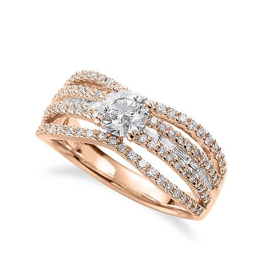 指輪 18金 ピンクゴールド 天然石 バゲットメレがラインになったサイドストーンリング 主石の直径約5.2mm 割り腕 四本爪留め|K18PG 18k 貴金属 ジュエリー レディース メンズ