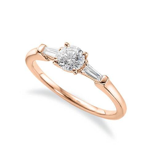 指輪 18金 ピンクゴールド 天然石 テーパーメレのサイドストーンリング 主石の直径約3.8mm 四本爪留め K18PG 18k 貴金属 ジュエリー レディース メンズ